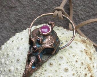 Skylark skull pendant | Bird skull necklace | Ruby copper pendant | Electroformed lark skull pendant