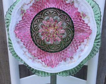 "Plate Flower, Vintage Glass, Garden Decor ""Annabelle"""