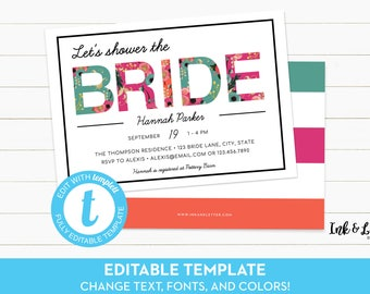 Templett Bridal Shower Invitation - Tropical Shower Invitation - Printable Invitation - Bridal Shower Template - Bright Invitation