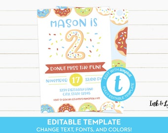 Boy Donut Party Invitations - Doughnut Second Birthday - 2nd Birthday - Editable Birthday Invitation - Printable Invitation - Templett