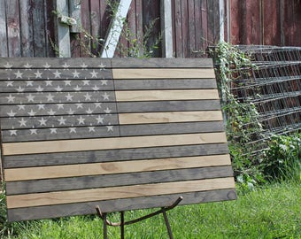 "Handmade Rustic Wall Hanging Wooden American Flag 31.5"" x 21"" USA Star Spangled Banner Home Decor"
