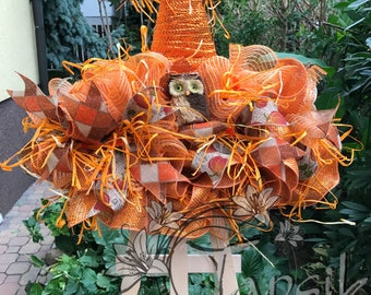 Deco Mesh Fall Wreath, Witch Hat, Fall Front Door Wreath, Thanksgiving Door Decor, Fall Home Decor, Mantel Decor, Scarecrow Hat