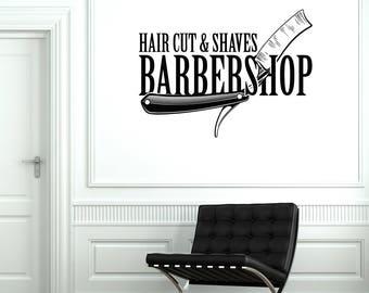 Barbershop Vinyl Wall Decal Hair Cut Shaves Stylist Barber Salon Stickers Mural (#2636di)