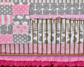 4 PIECE SET -Grey and Pink Nautical Crib Bedding, modern nursery, modern quilt, nautical, whales, anchors, minky quilt, crib bedding,