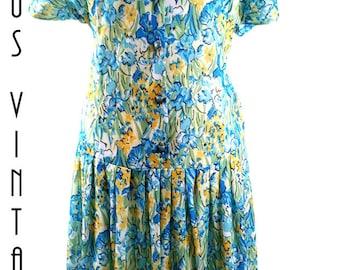 """Plus Size UK 22 Vintage 1980s Floral Tea Dress 1920s-Style  Blue Gold Drop Waist Silky Downton  EU 50 US 18 Bust 48"""" 122cm"""