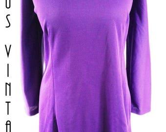"Plus Size UK 18 1960s Purple Mini Dress Mod Beatles Mad Men EU 46 US 14 Bust 44"" 112cm"