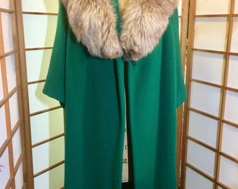 Mad Men Emerald Green Wool, Mohair Lilli Ann with Massive Fox Fur Collar Vintage 60's Swing Coat