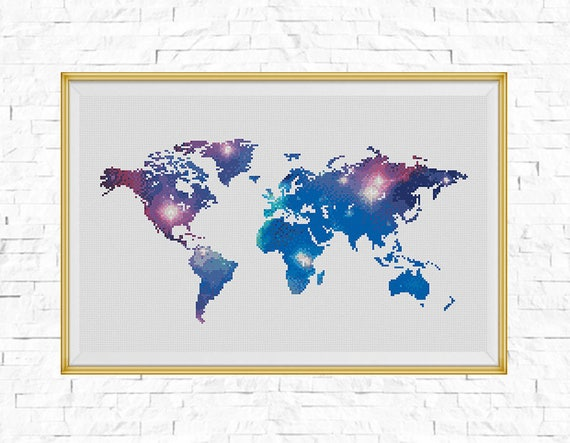 Bogo free galaxy world map cross stitch pattern world map galaxy world map cross stitch pattern world map silhouette galaxy counted xstitch chart modern decor pdf download 025 17 6 from stitchline on etsy gumiabroncs Images