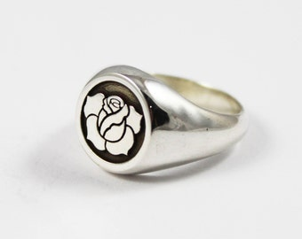 Rose Signet Ring, Silver Rose Ring
