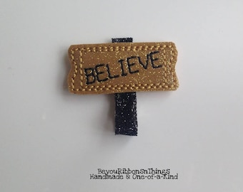 Believe | Black Glitter | Hair Clip for Girls | Toddler Barrette | Baby | Kids Hair Accessories | Felties | No Slip Grip | Christmas