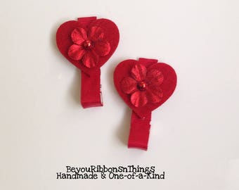 Heart w/Flower | Hair Clip for Girls | Toddler Barrette | Baby | Kids Hair Accessories | Red Grosgrain Ribbon | Felties | No Slip Grip