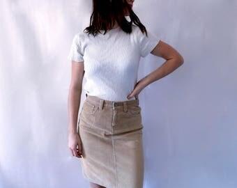 Vintage 1970s CORDUROY Beige Mini Skirt (Highwaisted)