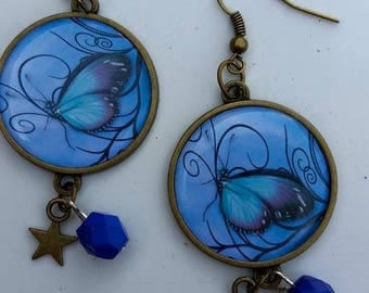 Earrings blue butterfly theme