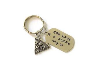 Pizza Keychain - Best Friend Keychain - Pizza Gift - Anniversary Gift - Keychain Gift - Pizza Slice - Silver Keychain - Long Distance Gift