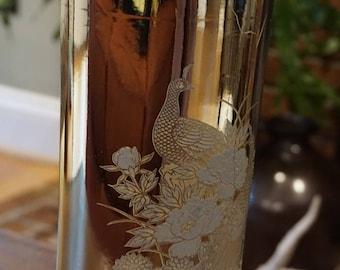 Beautiful Vintage Japanese Gold Glazed Ceramic Vase/ Peacock Vase/ Made in Japan/ Boho Wedding decor/ Peacock Wedding
