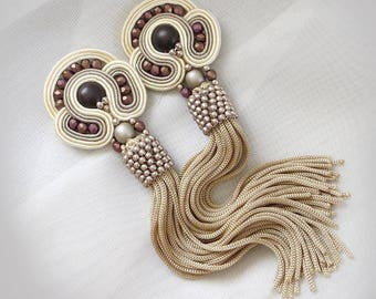 Coffee earrings Beige Clip on earrings Modern earrings Bright boho earrings long dangle earrings Soutache jewelry Summer gift