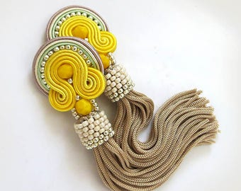 Tassel earrings, long fringe gift, yellow earrings tassel, boho dangle earrings, long tassel earrings, soutache earrings oscar earrings