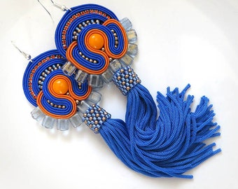 Colorful Tassel Earrings, Handmade Soutache Earrings, Tassel earrings, Fringe Earrings, Soutache Jewelry, blue orange earrings