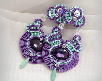 Purple Green Soutache Earrings Long Stud Earrings, Oriental Purple Earrings Beaded Dangle Earrings gioielli Statement Earrings, mint earring