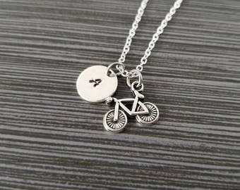 Bicycle Necklace - Bicycle Charm Pendant - Personalized Necklace - Custom Gift - Initial Necklace - Cyclist Necklace - Best Friend Gift