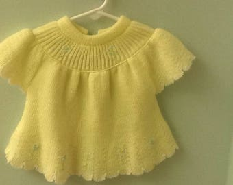 Small (6-9 month?) Yellow Sweater Top with Embroidered Flowers
