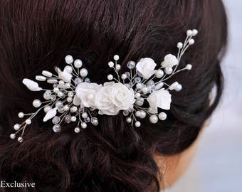 Wedding hairpiece Wedding hair comb Bridal hair comb Floral hair comb Silver hair comb Flower hair comb Crystal hair comb Bridal headpiece