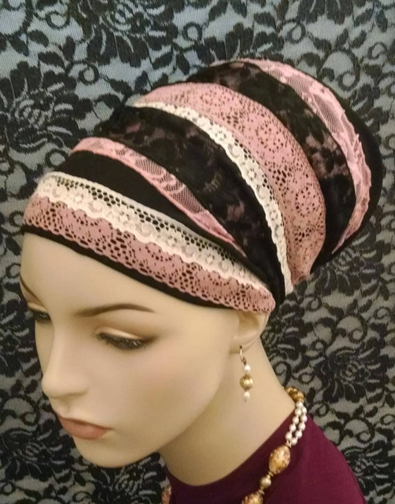 Feminine pink and black lace sinar tichel, tichels, chemo scarves, head scarves, hair snoods