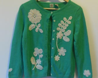 Vintage WHR Teal and White Floral Applique Cardigan Sweater Cotton/Polyester/Angora/Nylon Blend Size M