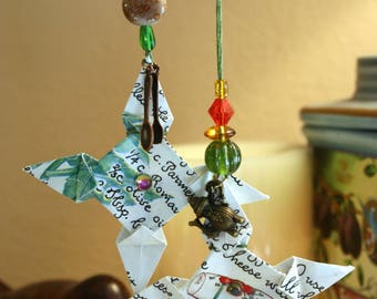 Origami Set Of 2 Small Susan Branch Cookbook Paper Four Pointed Star Hanging Ornaments