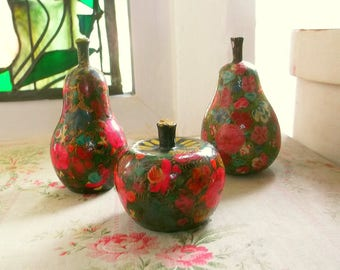 3 Vintage Hand Painted Kashmir Papier Maché Fruits