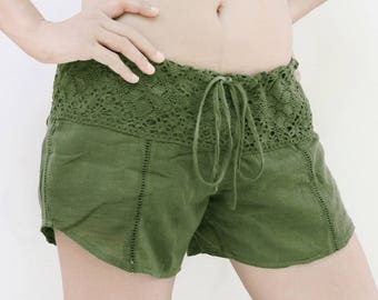 Women Drawstring Waist Shorts with Lace Waistline in Green, Cotton Summer Beach Shorts, Bikini Cover Up