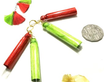 Double Tassel Christmas Earrings, Red and Lime Green Tassel Earrings, On Trend Earrings, On Trend Gift, Workmate Gift, Free Local Shipping