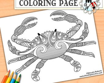 Crab Coloring Page - Nautical Sea Life Coloring Page - Instant Digital Download of a Printable Coloring Page for Kids and Adults