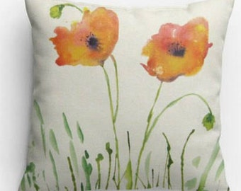 Decorative Throw Pillow, 14x14, 18x18, Watercolor Poppy Design, with Pillow Insert, Dorm Room, Bedroom, Insert Included