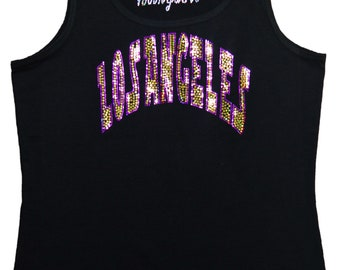 Los Angeles Bling Tank Top sequins Shirt No Rhinestones L.A glitter sparkly tee