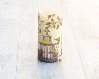 Bird Cage LED Flameless Candle, Bird Lovers Candle Gift, Bird Cage Print, Mothers Day Gift For Her, Whimsical Home Decor Gift