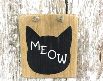 Cat Sign Kitten Sign Gift for Cat Lady Gift for Crazy Cat Lady Sign MEOW sign  Paw Print Sign Wooden Sign Reclaimed CAT Sign #2415