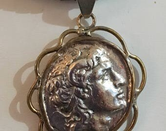 Sterling silver Alexander the Great pendant with brass accents (cord not included)