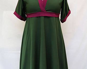 Dark green and garnet dress - green crepe fabric dress - two tones dress - Hand made - Made in France