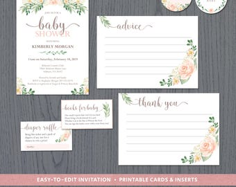 Spring baby shower invitations, floral baby shower stationery, advice cards, diaper raffle, books for baby request, DIGITAL downloads