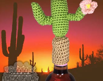 Saguaro Cactus with a flower Amigurumi Crochet Bottle Topper (Wine Topper)