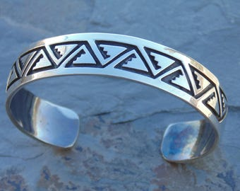 Navajo Sterling Silver Overlay Cuff Bracelet Signed J.N. - 23 Grams
