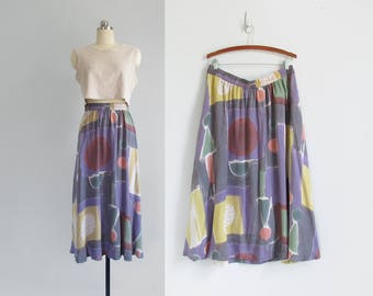 vintage abstract print skirt / artsy geometric print skirt with elastic waist / 90s rayon midi skirt / womens XL (plus)