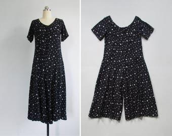 90s palazzo jumpsuit / vintage black & white romper / cropped wide leg jumpsuit / womens S - M