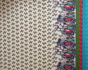 "Tribal Print, White Fabric, Dress Material, Quilting Fabric, Home Accessories, 47"" Inch Cotton Fabric By The Yard ZBC7006A"
