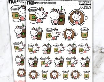 Coffee love, Cutiecorns Unicorn Planner Stickers and Doodles C06