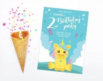 Unicorn birthday invitation Unicorn invite Printable birthday invitation Printable unicorn invitation Unicorn birthday party Unicorn invite