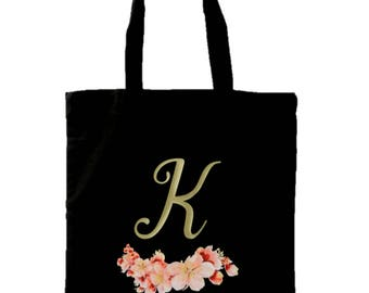 Personalized Tote Bag | Personalized Floral Tote Bag | Bridesmaid Tote Bag | Bridesmaid Gift | Custom Name Canvas Tote Bag | Bridesmaid Gift