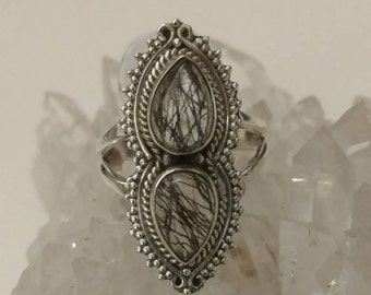 Black Rutilated Quartz Ring, Size 6