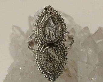Black Rutilated Quartz Ring, Size 6